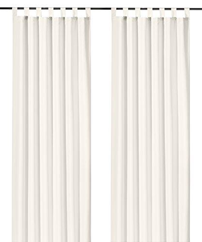 heimtexland ® Schlaufenschal Kräuselband Uni Off-White Natur HxB 245x140 Blickdicht Lichtdurchlässig Vorhang ÖKOTEX Typ117