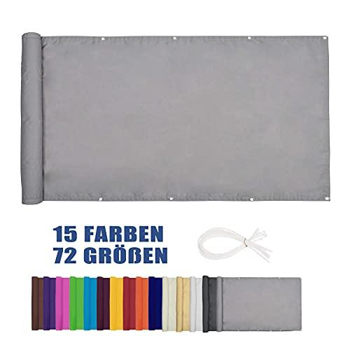 Moboo Balkon Sichtschutz PB2 PES blickdichte Balkonumspannung mit Ösen und Kabelbinder 8 Tage geliefert - in div.5 Größen & 2 Farben 420D(Grau,0.9x3m)