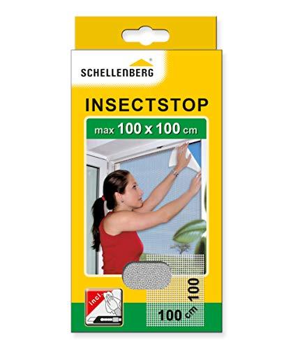 Schellenberg 50710 Fliegengitter für Fenster, Insektenschutz ohne Bohren, zuverlässiger Schutz gegen Mücken, Fliegen, Insekten & Ungeziefer, inkl. Befestigungsband, 100 x 100 cm, weiß