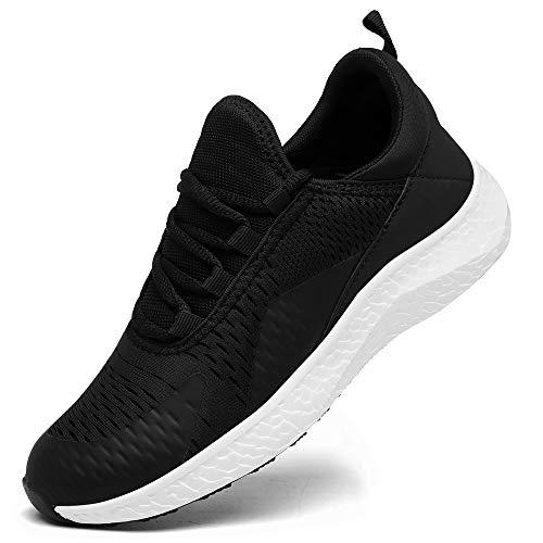 KOUDYEN Zapatillas Deporte Hombres Mujer Gimnasio Running Zapatos para Correr Transpirables Sneakers (D Negro, Numeric_44)