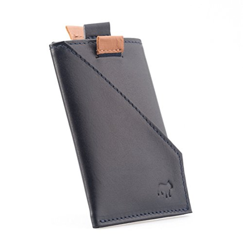 The Frenchie Co Calfskin Slim Front Pocket Speed Card Holder | Ultra Navy