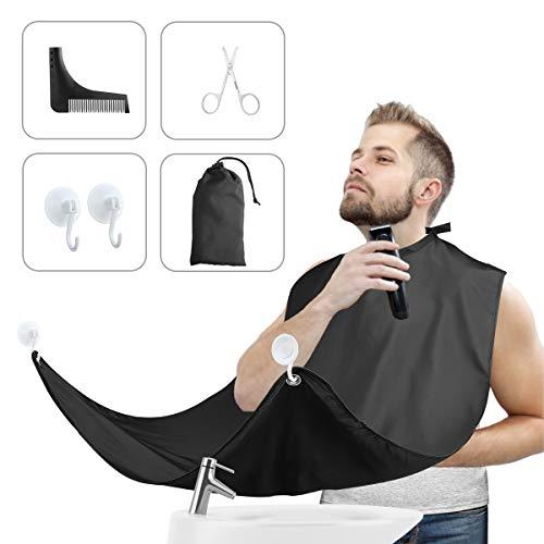 Bartschürze mit Professionellem Bart Schablone für Rasur Bartgestaltung, Verstellbarer Halsausschnitt, Wasserdichter Bartumhang mit 2 Saugnäpfen