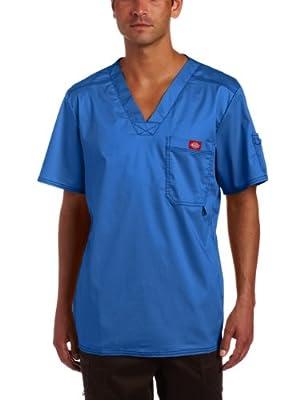 Dickies Men's Generation Flex Utility Scrubs V-Neck Shirt, Royal Blue, Large