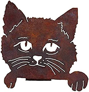 Elegant Garden Design Cat Face, Steel Silhouette with a Rusty Patina