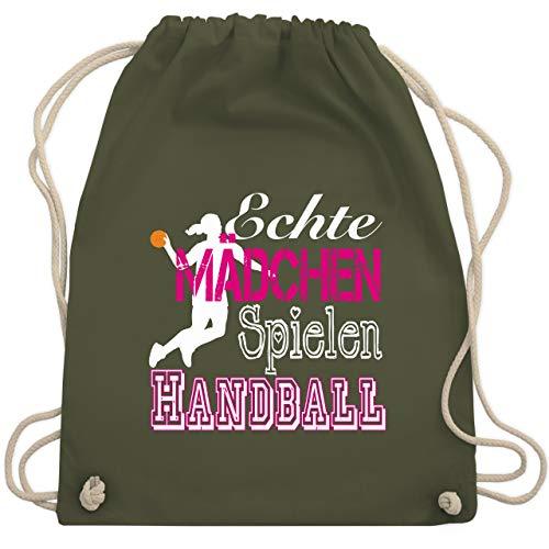 Shirtracer Handball - Echte Mädchen Spielen Handball weiß - Unisize - Olivgrün - geschenke für handballer - WM110 - Turnbeutel und Stoffbeutel aus Baumwolle