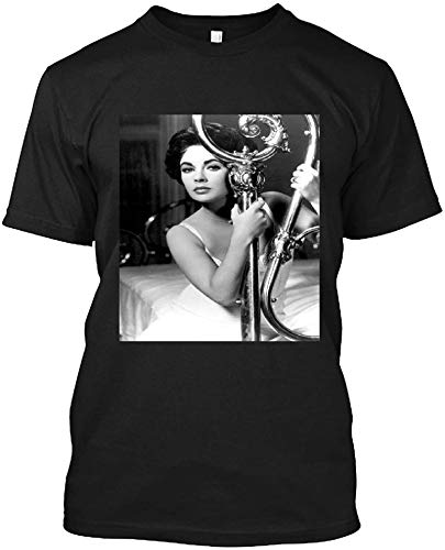 Elizabeth Taylor in Cat On A Hot Tin Roof Sizzling Pin Up On Bed T Shirt Gift Tee for Men Women Black
