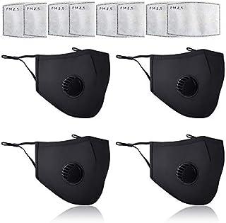 4 stuks zwart OV-Mask | Wasbaar Mondkapje | Openbaar Vervoer | wasbare mondkapje-mondmasker met ademfilter (Gratis 8 PM2....