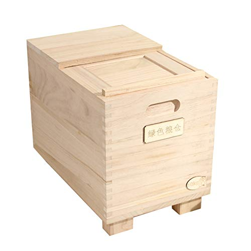 Sale!! HOUSHIYU-521 Wooden Rice Storage Container 15KG/33 LBS, Kitchen Airtight Dry Food Storage Con...