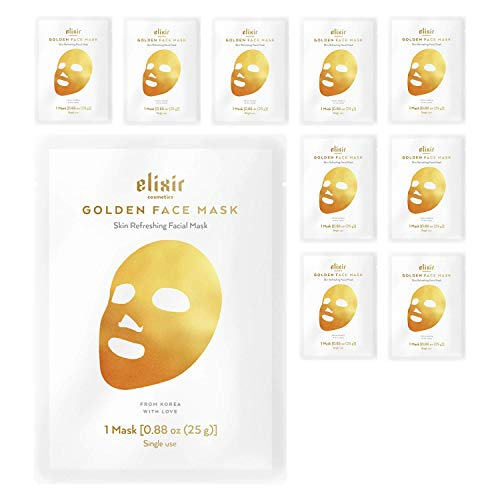 Korean 24K Gold Moisturizing Face Mask - Instant Brightening & Anti-Aging Collagen Treatment - Deep Hydrating Facial Sheets for Women and Men - Premium Care for Dry Oily Acne Prone Skin - 10 Pack