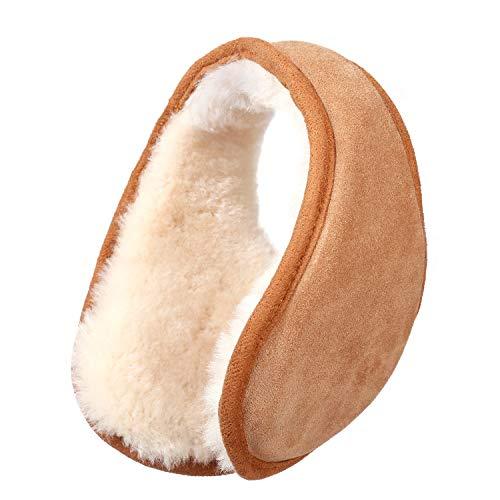 Winter Sheepskin Ear Muffs for Women and Men Australian Wool Ear Warmer Outdoor BehindtheHead Ultra Soft Earmuffs Chestnut One size