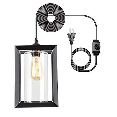 Eyassi Pendant Lighting Fixture with Plug in Cord and On/Off Dimmer Switch, Farmhouse Hanging Swag...