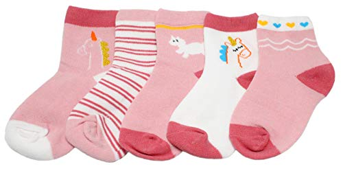 Colourful Baby World Chaussettes bébé fille rose rayé animal licorne - Rose - Medium