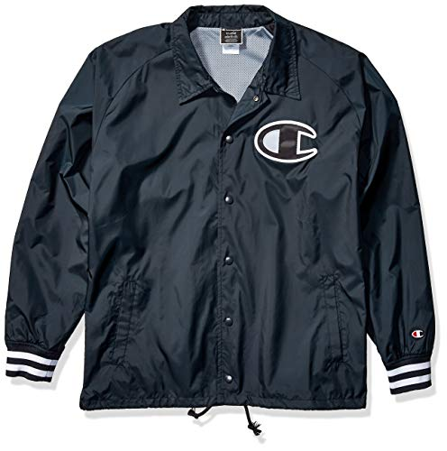 Champion LIFE Men's Satin Coaches Jacket with Ribbed Cuffs, Black w/Twill c Logo, Large