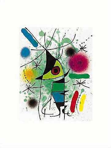 Kunstdruck/Poster: Joan Miró Der singende Fisch - hochwertiger Druck, Bild, Kunstposter, 40x50 cm