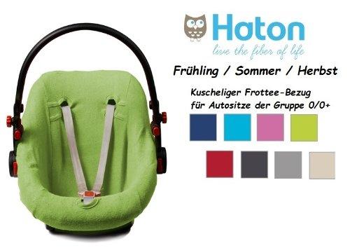 HATON BabyFit -- FROTTEE Ersatzbezug -- Frühling / Sommer / Herbst -- Universal Ersatz-Bezug für Babyschale, Autokindersitz z.B. für Maxi-Cosi, Römer etc. -- LIMETTE --