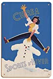 Pacifica Island Art Chrea, Argelia - Deportes de Invierno (Sports D'Hiver) - Ferrocarril argelino - Póster Viajes de F. Crespo c.1947 - Letrero de Madera 20x30cm