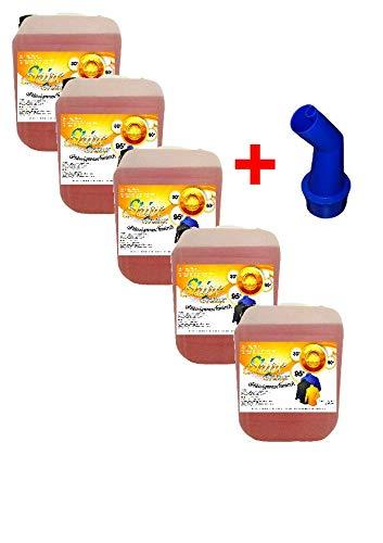 SHINE 5X 5Ltr. Orange Flüssigwaschmittel PE1,20 € = 1 Ltr. Waschmittel Waschgel inkl. Ausgießer Caps