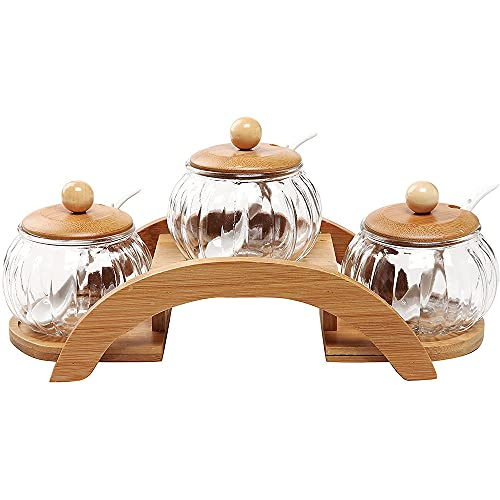 Clear vidrio Condimento Frascos de especias redondas Conjunto de 3, con cerámica Sirviendo cucharas de madera Pantalla de madera Pantalla de contenedor Caja de condimentos Canisters Potes Base de tapa