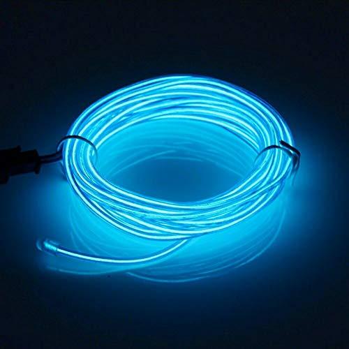Lerway EL Draht Streifen Licht Seil Neon Flexible Fünf Meter Kabel DIY Led-beleuchtung Multicolor Cosplay Halloween Weihnachten Neujahr Geburtstag Hochzeit Dekoration (Blau)