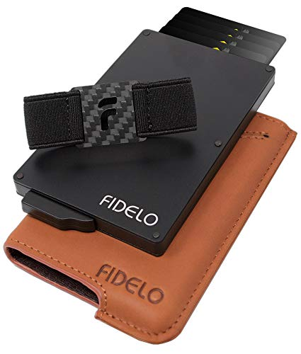 FIDELO Minimalist Wallet for Men - Slim Credit Card Holder RFID Mens Wallets with Cash Pocket Removable Case