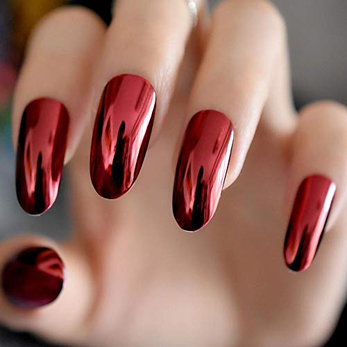 CLOAAE Gorgeous Mirror Acrylic Nails Round False Nails Extra Long Metallic Style Nail Tips 24 Pcs/Kit Easy To Wear