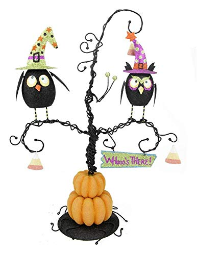 Tabletop Halloween Pumpkin Tree with Owls Ornament
