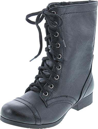 Soda Women's Relax Faux Leather Military Combat Lace Up Boots,Black,8