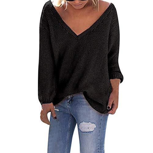 Susenstone Chandail Tricoté Grand Taille Col V Pull Femme Hiver Pas Cher A La Mode Ample Tops Chemisier Pin Up Manche Longues Sexy Femmes Sweater (4XL(EU48), Noir)