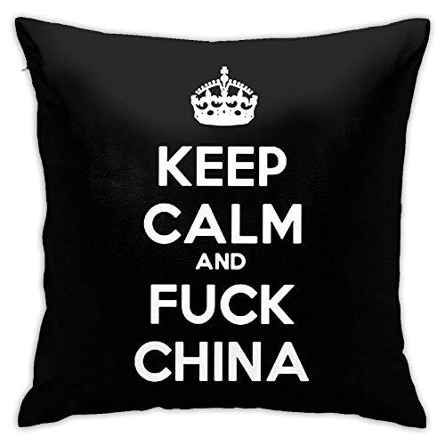suichang Behalten Sie Ruhe und Ficken Sie China Square Baumwolle Leinen Kissenbezug mit Reißverschluss Dekorative Akzent Kissenbezug für Auto Schlafzimmer und Sofa 18x18 Zoll Kissen