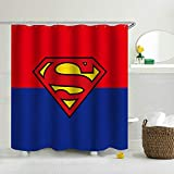 JoneAJ Superman Hintergr&muster Duschvorhang 3D-Druck Wasserdicht beschichtetes Bad aus Polyestergewebe mit 12 Haken 71 Zoll