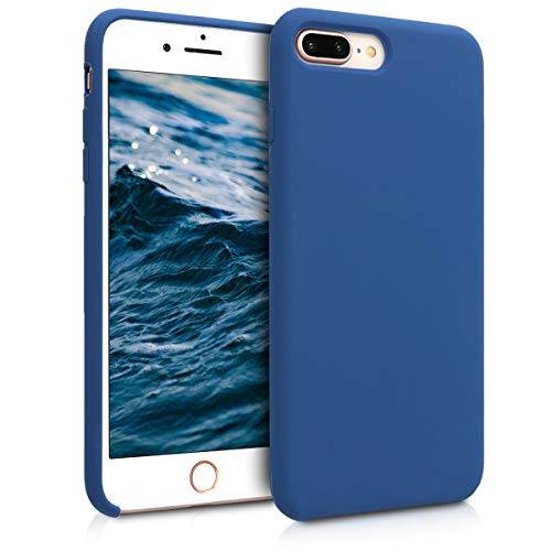 kwmobile Funda Compatible con Apple iPhone 7 Plus / 8 Plus - Carcasa de TPU para móvil - Cover Trasero en Azul Marino