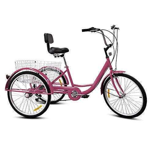 DNNAL Triciclo para adultos, triciclo de tres ruedas para bicicleta, triciclo con cesta de la compra para adultos, ancianos, unisex, morado