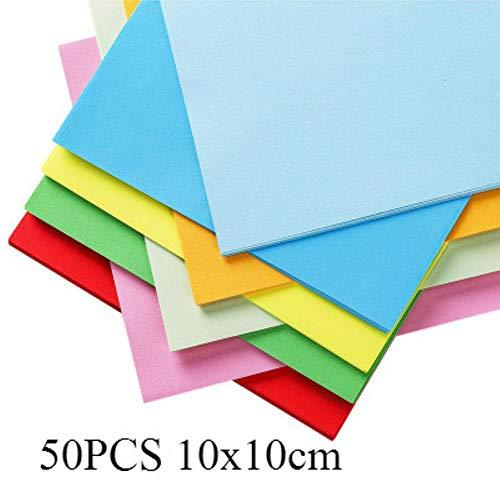 Creatieve vierkante origami papier Kid DIY handgemaakte dubbelzijdig gekleurde gevouwen ambachtelijke papier Scrapbooking decoratie kunst materiaal, 50st willekeurige kleur