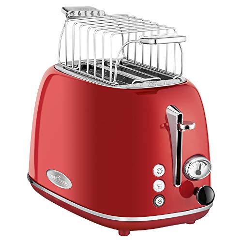 ProfiCook PC-TA 1193 Toaster 2-Scheiben-Toaster, Vintage-Look, Edelstahlgehäuse, Brötchenaufsatz, einstellbarer Bräunungsgrad, Zentrierfunktion, Krümelschublade