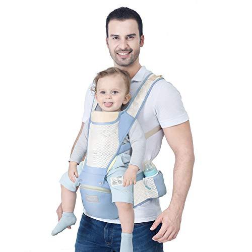 ASIAKK Ergonomische Babytrage für Säuglinge bis 3-20 Kg, Ideal Kindertrage/Rückentrage Trage für alle Jahreszeite Bauchtrage für Wanderung, Shopping,lightblue