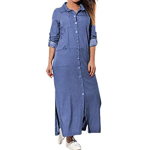 HX fashion Miniklänning denimklänning dam fritidsklänning lös långärmad skjorta klänning tunika blus jeans t-shirt jeansklänning