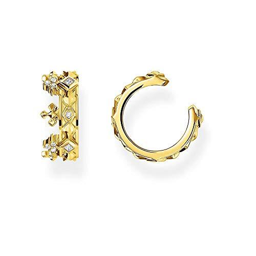 THOMAS SABO Damen Ohrklemme Krone, gold, 925er Sterlingsilber EC0016-414-14