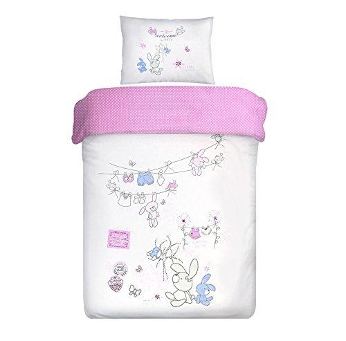 Eurofirany Parure de lit double face en coton 100 x 135 90 x 120 cm pour enfant Motif lapins et pois Rose 90 x 120 cm