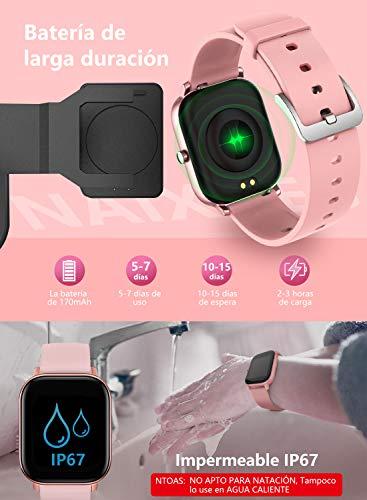 """NAIXUES Smartwatch, Reloj Inteligente Impermeable IP67 Reloj Deportivo 1.4"""" Pantalla Táctil Completa con Pulsómetro, Monitor de Sueño, Podómetro, Notificaciones para Mujer Hombre (Negro) 7"""