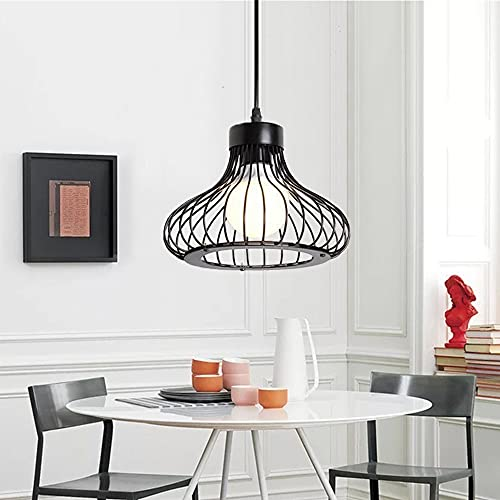 Chao Zan - Lámpara de araña industrial, lámpara de techo vintage con jaula Loft, lámpara de techo para comedor, lámpara de metal negro para cocina, salón, dormitorio o restaurante