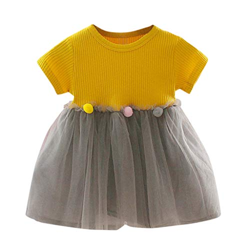 Arystk Baby Girls Dress Toddler Kids Patchwork Tulle Casual Clothes Princess Dresses Yellow