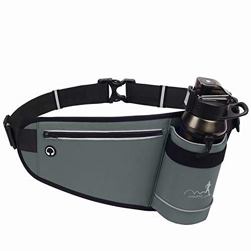 ランニング ポーチ -ボトルホルダー付き揺れないウエストポーチ(水筒は含まない) -大容量、防水-適用する ジョギング、自転車に乗る、 ロッククライミング- (はいいろ)