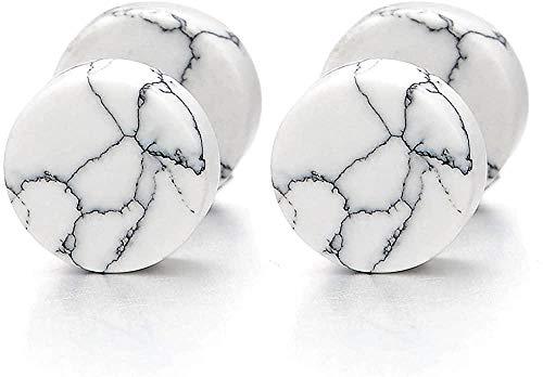 NC188 2 uds 10 MM Pendientes de botón de mármol Blanco Hombres Mujeres Acero tramposo Tapones para los oídos Falsos medidores túnel de ilusión