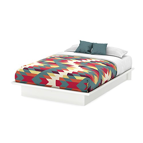 Basic Collection Platform Bed with Moulding - Queen Size - Pure White - Contemporary Design - by South Shore