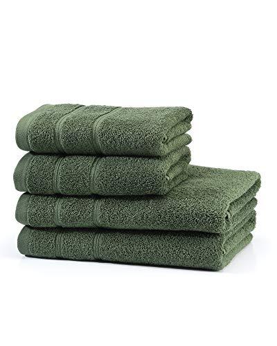 myHomery Handtuch Set bestehend aus Gästehandtücher, Duschtuch, Saunatuch und Badetuch - Saunahandtuch XXL - Handtücher Moosgrün | 2er-Set Duschtuch & 2er-Set Handtuch