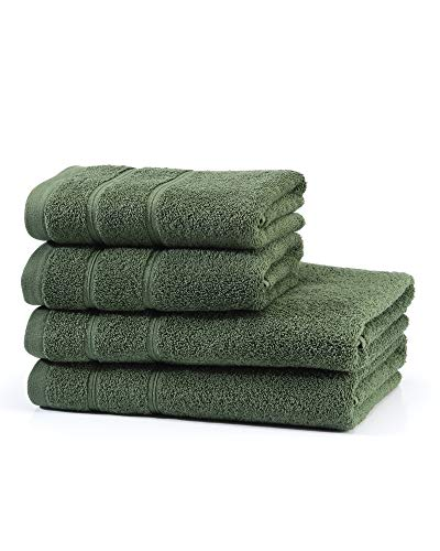 myHomery Handtuch Set bestehend aus Gästehandtücher, Duschtuch, Saunatuch und Badetuch - Saunahandtuch XXL - Handtücher Moosgrün   2er-Set Duschtuch & 2er-Set Handtuch