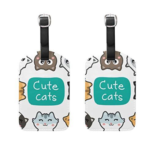 Chic Houses Etiquetas de piel para equipaje con diseño de gato colorido y bonito, diseño creativo de animales, etiqueta de equipaje para maleta de viaje, etiqueta de identificación para maleta 2031471