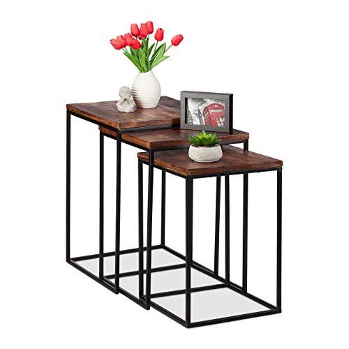 Relaxdays Satztisch 3er Set, quadratische Beistelltische, Mangoholz & Metall, Industrial Design, Couch, 3 Größen, braun