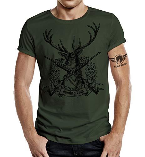 Camiseta de cazador, diseño de ciervo con texto Hunting Club
