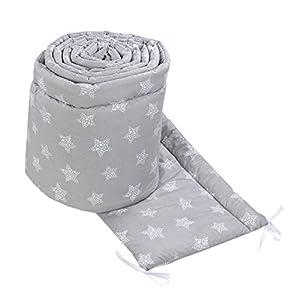 TupTam Protector Acolchado para Cama de Bebé Largo, Puntos/Estrellas Blanco/Gris, 420x30 cm (Cuna 140x70 cm)